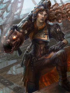 """Steampunk Cannoneer"" by Jacob Atienza (jubjubjedi) | Book of Ashes | #SciFi #Steampunk #DangerousWomen"