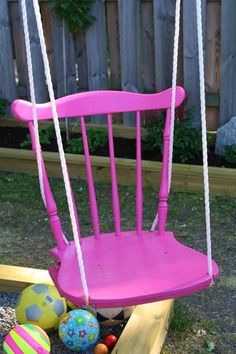 The Art Of Up-Cycling: Upcycled Furniture Ideas - Creative Ideas To Upcycling At Home & For Business Swinging Chair, Rocking Chair, Chair Swing, Spray Paint Cans, Do It Yourself Inspiration, Backyard Playground, Playground Ideas, Backyard Swings, Ideias Diy