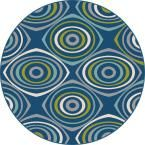 Garden City Navy (Blue) 7 ft. 10 in. x 7 ft. 10 in. Round Transitional Area Rug