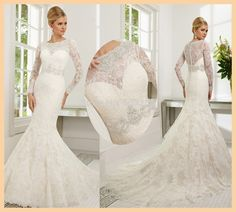 DCD132 White Satin and Lace  Bridal Wedding Dress Mermaid With Long Sleeve Sexy Design 2015