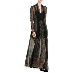 Etro Silk Chiffon Floor Length Gown (€3.485) ❤ liked on Polyvore featuring dresses, gowns, floor length evening dresses, floor length evening gowns, bohemian dresses, floor length gowns and bohemian gown
