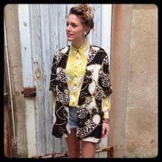 Veste médaillons léopard - Chemise et short Levis - Vintage -