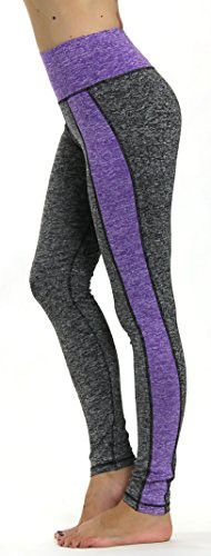 Prolific Health Yoga Pants Fitness Flex Power Leggings - All Colors - S - L (Large, Gray/Purple Type2)