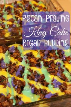 Mardi Gras Pecan Praline King Cake Bread Pudding- a decadent treat filled with king cake and croissants, glazed pecans, and cream cheese glaze.