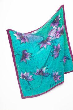 Gift Hand Painted Silk Scarf Foulard 32.7 X 32.7 by LigaKandele