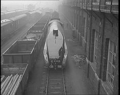 """View of famous streamlined steam locomotive """"Mallard"""" at the Doncaster Works in 1964 Steam Trains Uk, Old Steam Train, Work Train, Train Art, Diesel Locomotive, Steam Locomotive, Heritage Railway, Steam Railway, British Rail"""
