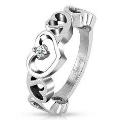 Stainless Steel Trendy Hollow Heart with Clear Cz Stone Ring, Ring Width of 7.5MM