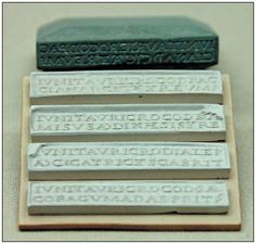 Oculist's collyrium stamp. This four-sided stamp was used to mark semi-solid sticks of eye ointments (collyria). The inscriptions are for four remedies prepared with saffron by Junius Taurus from a prescription of Pacius. Stone (serpentine?), 1st-3rd centuries AD, Naix-aux-Forges, France. © British Museum.