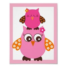 Girl owls nursery print