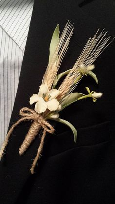 Rustic Fall Wedding Boutonniere (Boutineer) - Mixed Ivory Flowers with Wheat - 15% off - Code: PIN15