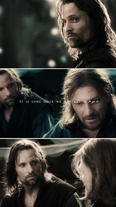 The brotherhood between Aragorn  Boromir clearly is now shown and the respect Boromir has now developed for Aragorn.