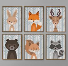 Woodland Nursery décor | Baby Boy Nursery Wall Art | Crèche unique de l'Art | Woodland créatures pépinière Art | PDF imprimable de 8 x 10 tirages | Ours cerf renard lapin raton laveur | Téléchargement instantané | Décor de nurserie Woodland numérique | Décoration d'intérieur  ..................................................................  Merci de vérifier cette liste de chêne maison Designs! Il y a quelque chose à propos d'une chambre d'enfant woodland. Il y a une ambiance accueillante…