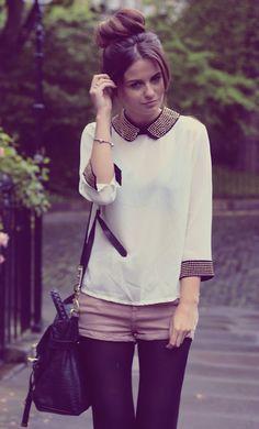 Tights, shorts, & blouse <3