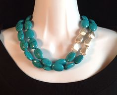 Turquoise necklace. Chunky turquoise necklace. by ChicMillies on Etsy