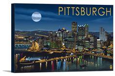 Pittsburgh, Pennsylvania - Skyline at Night - Lantern Press Artwork
