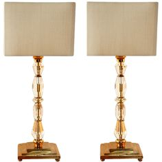 Pair of 1930 Bronze and Crystal Lamps from Prince de Galles Hotel | From a unique collection of antique and modern table lamps at https://www.1stdibs.com/furniture/lighting/table-lamps/