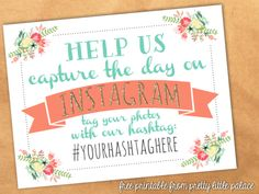 Free printable instagram sign from Pretty Little Palace. #freeprintables.