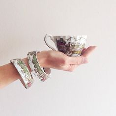 StayGoldMaryRose - Stunning vintage 'Country life'  scene pattern tea cup stacking bracelet. by StayGoldMaryRose (35.00 USD)