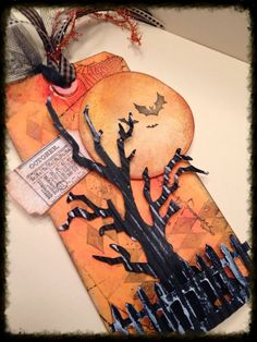 I have been busy getting grungy with lots of Tim Holtz awesome dies and distress inks. I love working with these. I used Ti. Photo Halloween, Halloween Shadow Box, Halloween Tags, Halloween Books, Holidays Halloween, Halloween Crafts, Halloween Decorations, Halloween Ideas, Halloween Party