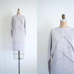 matte silver dress  pale / Dove Gray  vintage 80's / by AgeofMint, $42.62