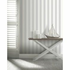 Opera Linen Stripe Wallpaper - Grey from Homebase.co.uk (lexis man cave)