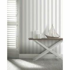 Opera Linen Stripe Wallpaper - Grey from Homebase.co.uk (lexis man cave)