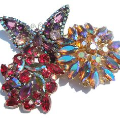 Vintage brooch in iridescent purples and golds from by MaryClaires