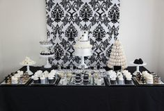 Black and White Wedding Dessert Table