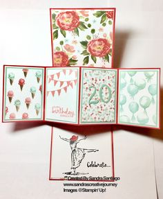 Twist Pop Up Card (inside) Stampin' Up! Beautiful You and Tin of Cards stamp sets, and Birthday Bouquet DSP