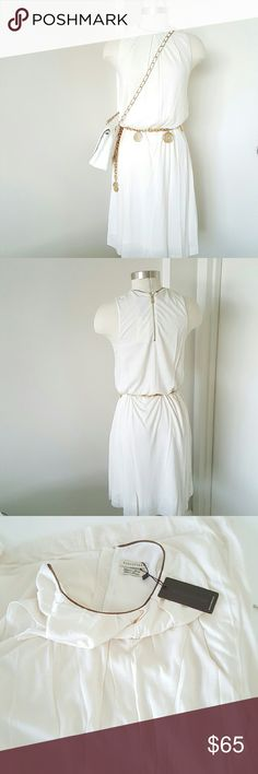 """ROSCHTERRA Summer  Sleeveless Dress NWT dress in cream color, neckline trim suede,  perfect with any sweater or jacket,  new never been worn,  made is Portugal,  very high quality of the dress, fully lined,  100% modal measurements are length 40"""" bust 38"""" waist 40"""" hip 44"""" label shows size 2 but I believe fit size 4 or more ROSCHTERRA  Dresses"""