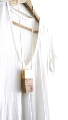 Gold Leaf Totem Necklace Wood Jewelry Minimalist Necklace Cypress Wood Wearable Art
