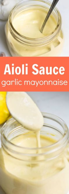 Aioli: a creamy garlic mayonnaise that's perfect on sandwiches, burgers, fries, . Aoli Sauce Recipe, Garlic Aoli Recipe, Aioli Sauce, Garlic Aioli, Garlic Sauce, Sauce Recipes, Gourmet Recipes, Real Food Recipes, Cooking Recipes