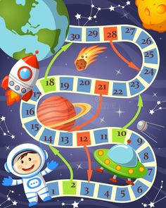 Board Game With Cosmonaut, Ufo, Rocket, Planet And Stars Stock Vector - Illustration of play, labyrinth: 102506330 Space Preschool, Space Activities, Preschool Activities, Space Party, Space Theme, Math For Kids, Crafts For Kids, Printable Board Games, Space Crafts