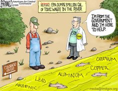 A EPA Polluted River,but don't worry they're from the government and here to help...cartoon by A.F. Branco 2015