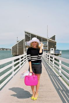 Life's a beach! Thoughtfulwish // kate spade // nordstrom // pink purse and yellow heels // navy outfits // beach girl