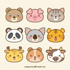 natur animals Pack of hand drawn kawaii animals Free Vector Cute Easy Drawings, Cute Kawaii Drawings, Cute Animal Drawings, Chat Kawaii, Kawaii Art, Disney Drawings, Cartoon Drawings, Doodle Art, Doodles Kawaii