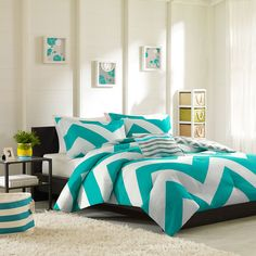 4-piece Twin Comforter Bedding Set Bedroom Blue Teen Chevron Pillows Sham #MiZone