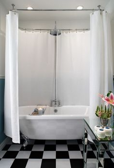 My bathroom renovation: How to fit a shower over a freestanding tub Bathtub Shower Combo, Shower Over Bath, Bathroom Tub Shower, Laundry In Bathroom, Bathroom Ideas, Rock Shower, Huge Shower, Cozy Bathroom, Attic Bathroom