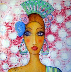 """Salome Hidalgo, """"Gitana XI"""", olej na płótnie/ oil canvas, year: 2009, 1m x 1m"""