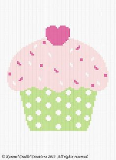 Crochet Pattern Cute as A Cupcake Color Graph Chart Baby Afghan Pattern | eBay