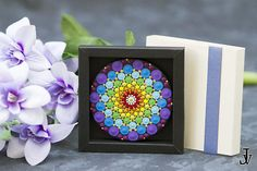 This is a gorgeous miniature painting- so vibrant, colorful and tactile! Bright and amazing work of Dotillism Art, Meditation Mandala, Healing Mandala, Hand painted Mandala fridge magnet with - acrylic paint on wood diametro 8,5 cm (3,3inch ). This is really exclusive piece and I
