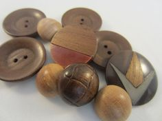 Vintage Buttons  assorted lot of 10 wood novelty by pillowtalkswf, $8.95