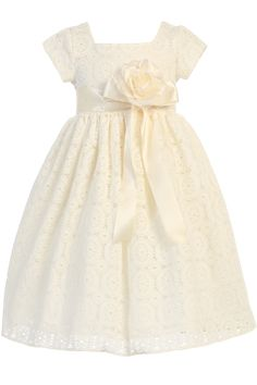 Ivory Lace Tulle Overlay Satin Easter Spring Dress w Satin Sash Girls (M707)