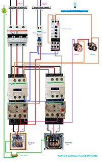 Esquemas eléctricos: Partida consecutiva de motores