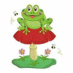 KISS THE FROG PRINCE SO CUTE NEW TOWELS EMBROIDERED BY LAURA