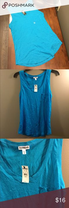 🆕 Express Blue Pocket Tank Top NWT Medium ☀️ Brand new with tags! Thank you for looking! Express Tops Tank Tops