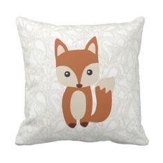 Cute Baby Fox Throw Pillows