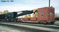 414480 wreck crane ton) with boom car Doug Mackenzie/Carl Schnurr collection --- Canada Canadian Pacific Railway, Work Train, Railroad Photography, Rail Car, Rolling Stock, Model Trains, Locomotive, Transportation, Truck