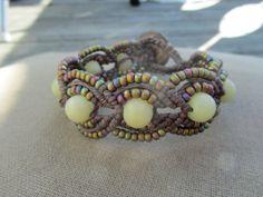 Hemp Macrame Bracelet with Buri Nut and by PerpetualSunshine111, $26.00