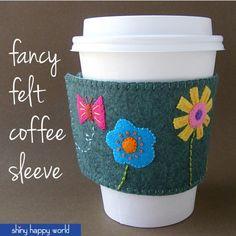 Fancy Felt Coffee Sleeve - a free pattern from Shiny Happy World #free_coffee #coffee_sleeve